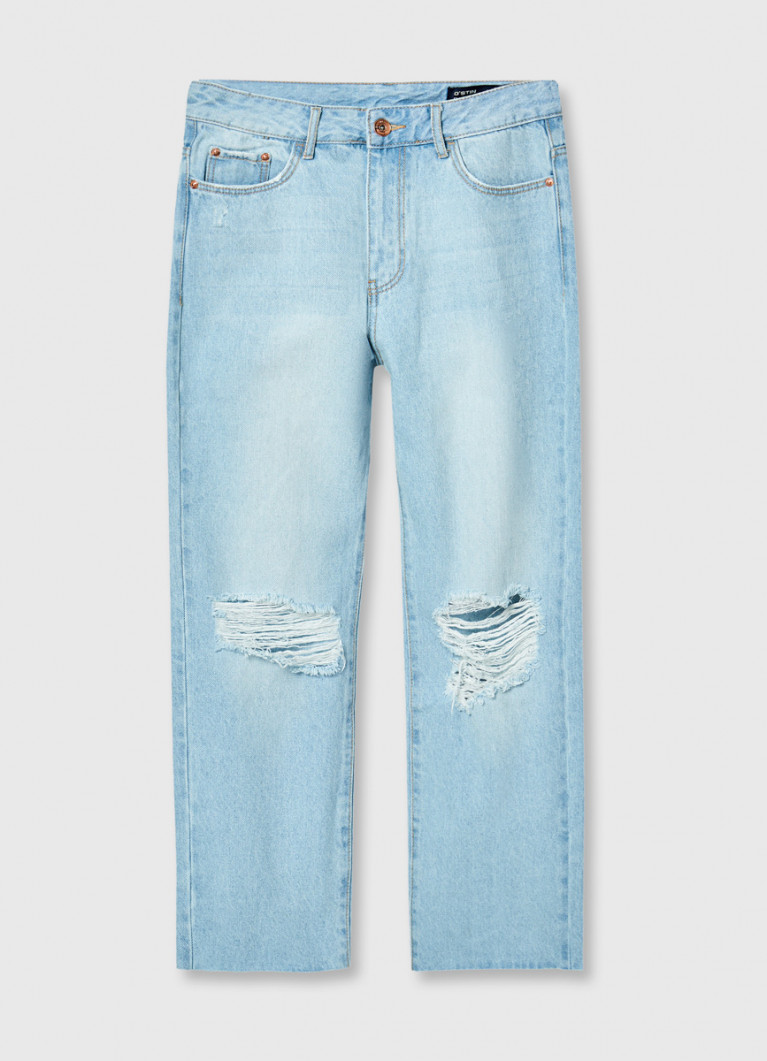 Прямые джинсы с высокой посадкой