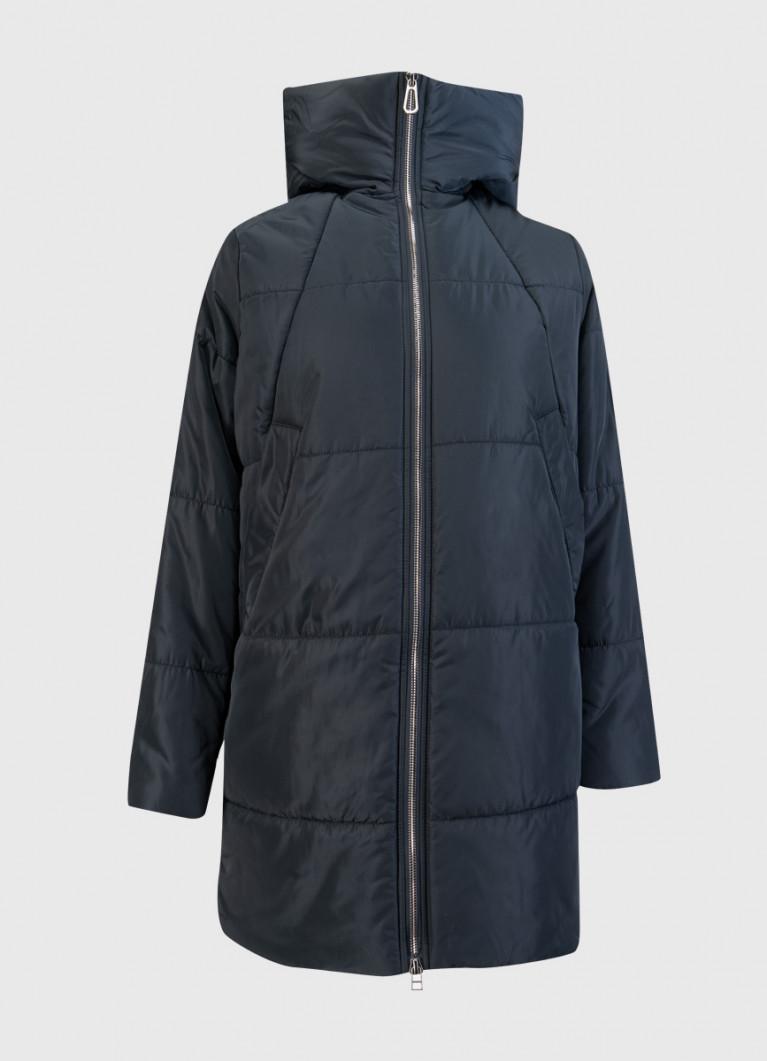 Пальто силуэта кокон с капюшоном и открытой молнией