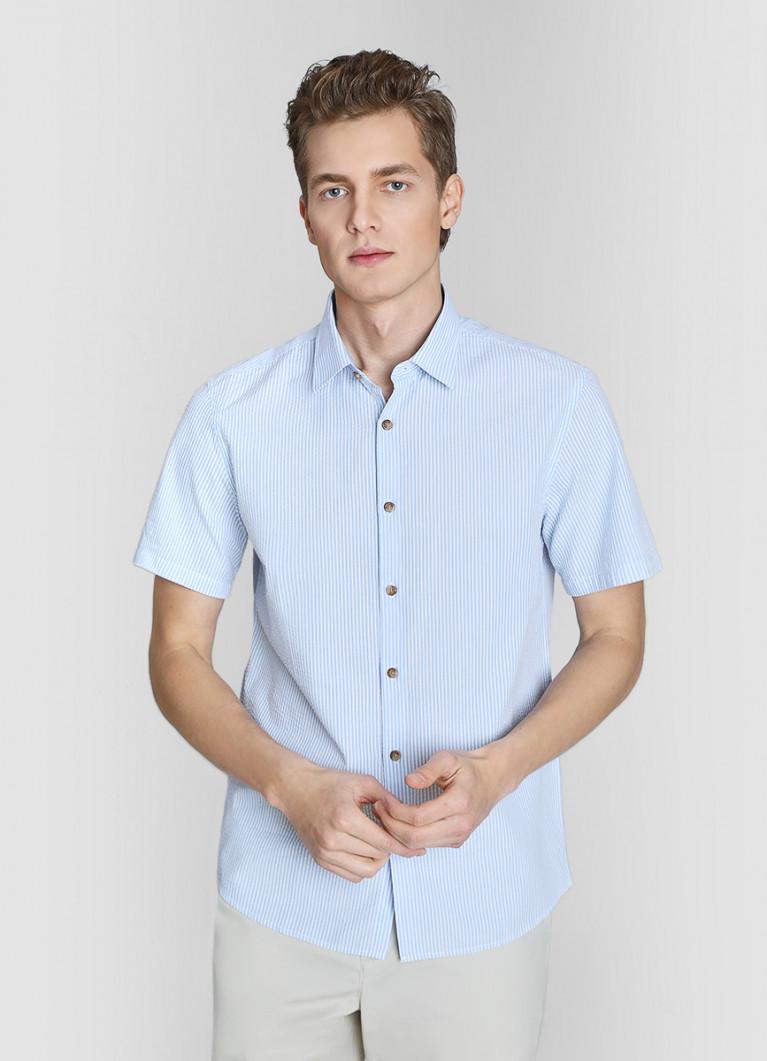 Рубашка в полоску из жатого хлопка