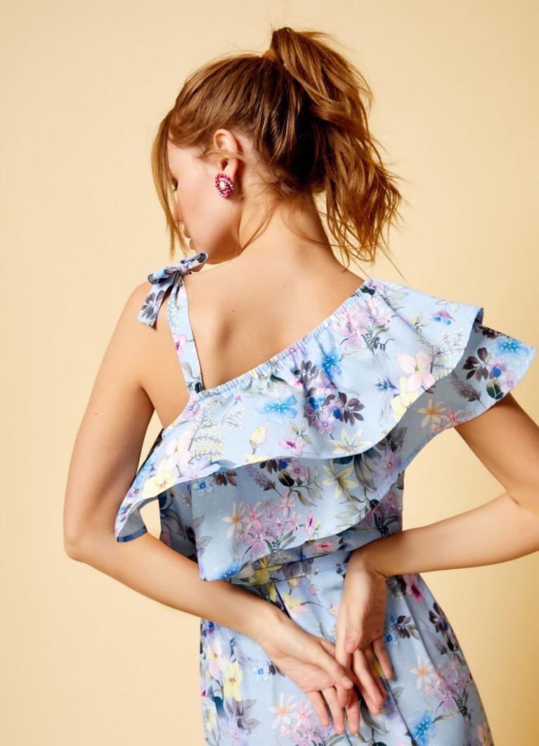 Платье на одно плечо с принтом