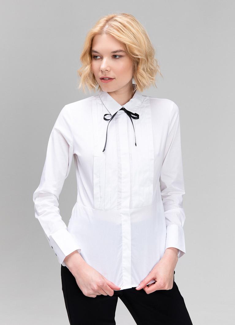 Белая рубашка с контрастным бантом