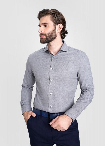 Рубашка из меланжевого хлопка с микропринтом