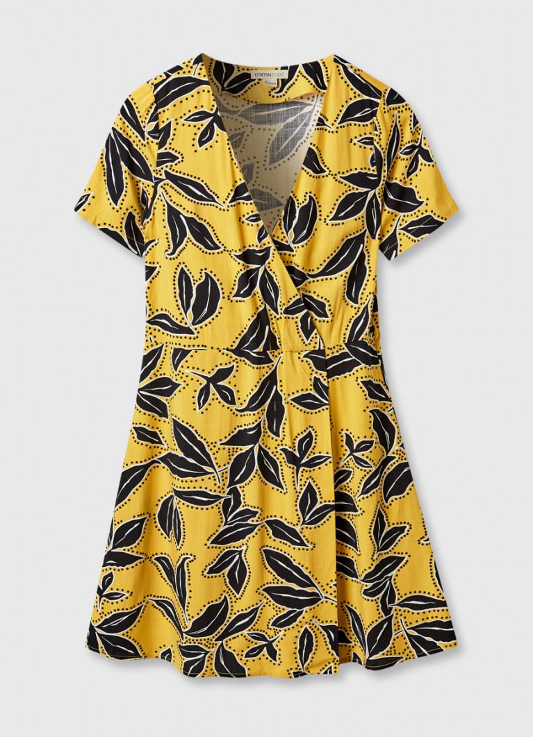 Платье с принтом «листья»