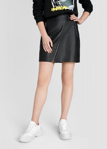Кожаная юбка с молниями
