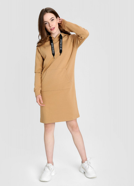 Платье-толстовка с карманом