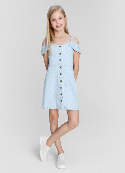 Джинсовое принтованное платье c открытыми плечами