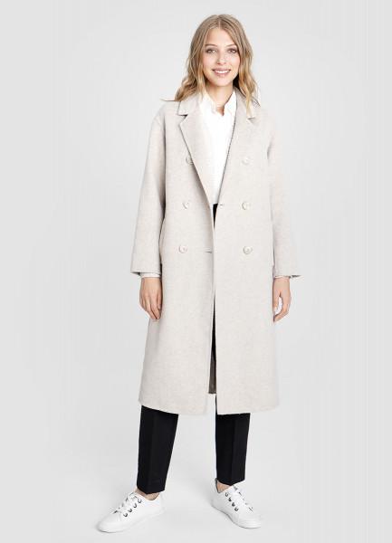 Длинное шерстяное пальто ручной работы