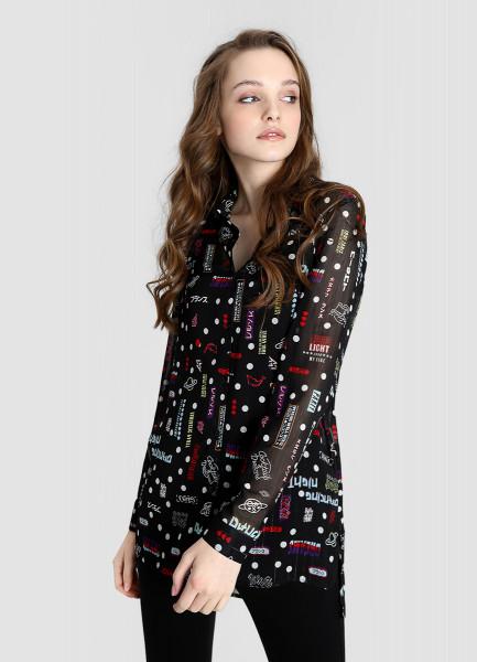 Шифоновая принтованная блузка фото
