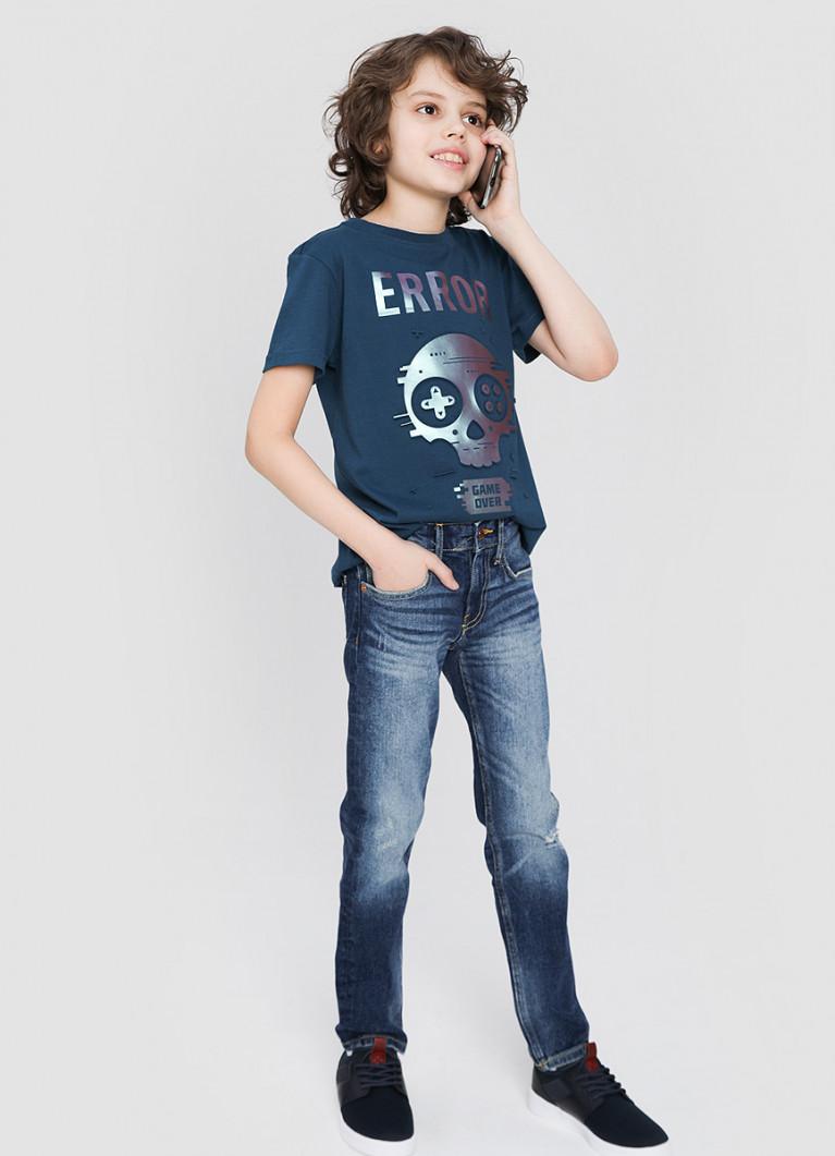 Джинсы для мальчиков с принтованным внутренним поясом