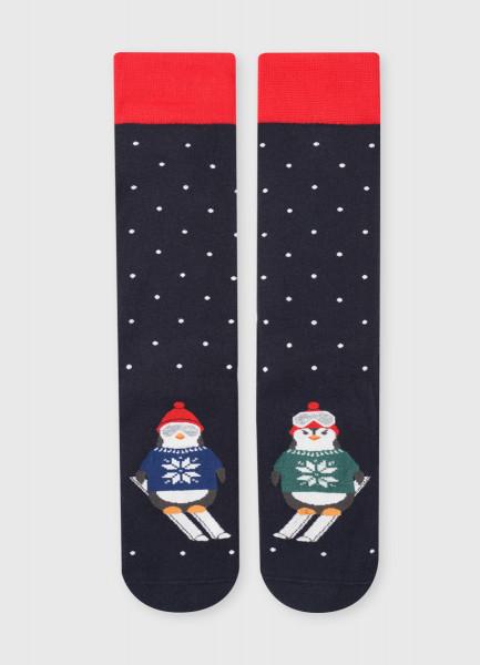 Махровые носки с жаккардом «пингвины»