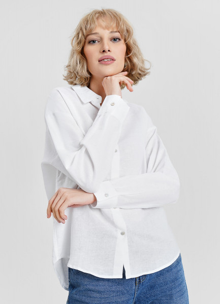 Блузка изо льна с хлопком