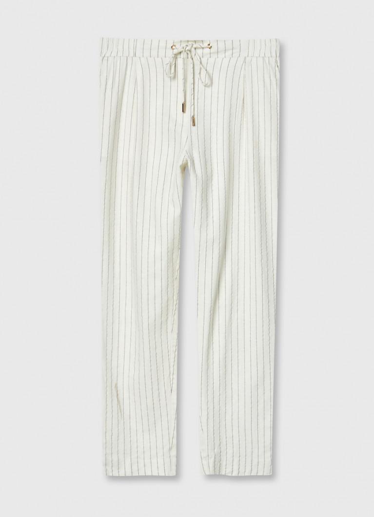 Свободные брюки изо льна в полоску