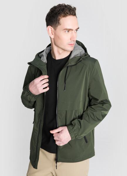 Куртка с капюшоном и контрастной фурнитурой фото
