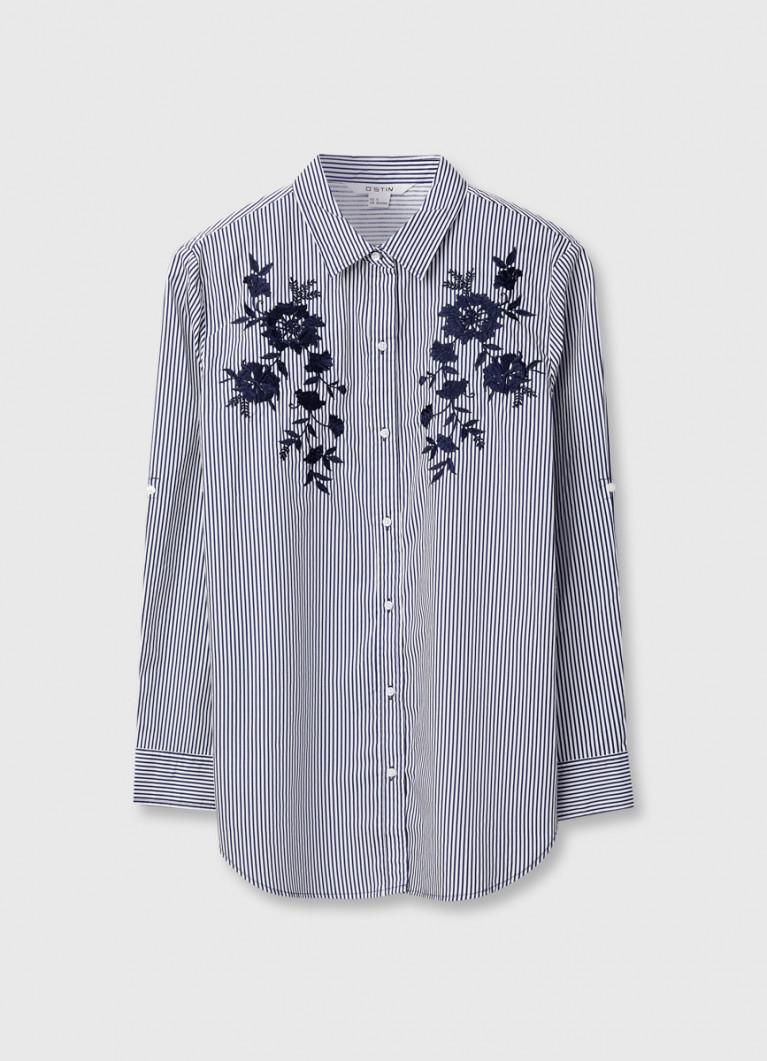 Рубашка в полоску с цветочной вышивкой