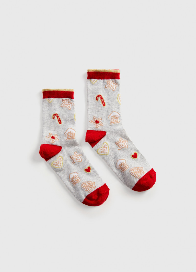 Носки с жаккардом «печенье» в шаре