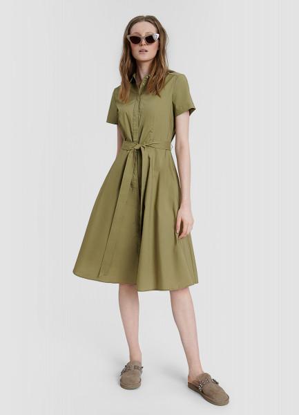 Хлопковое платье-рубашка с расклешённой юбкой и поясом