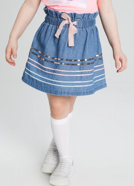 Джинсовая юбка с вышивкой пайетками
