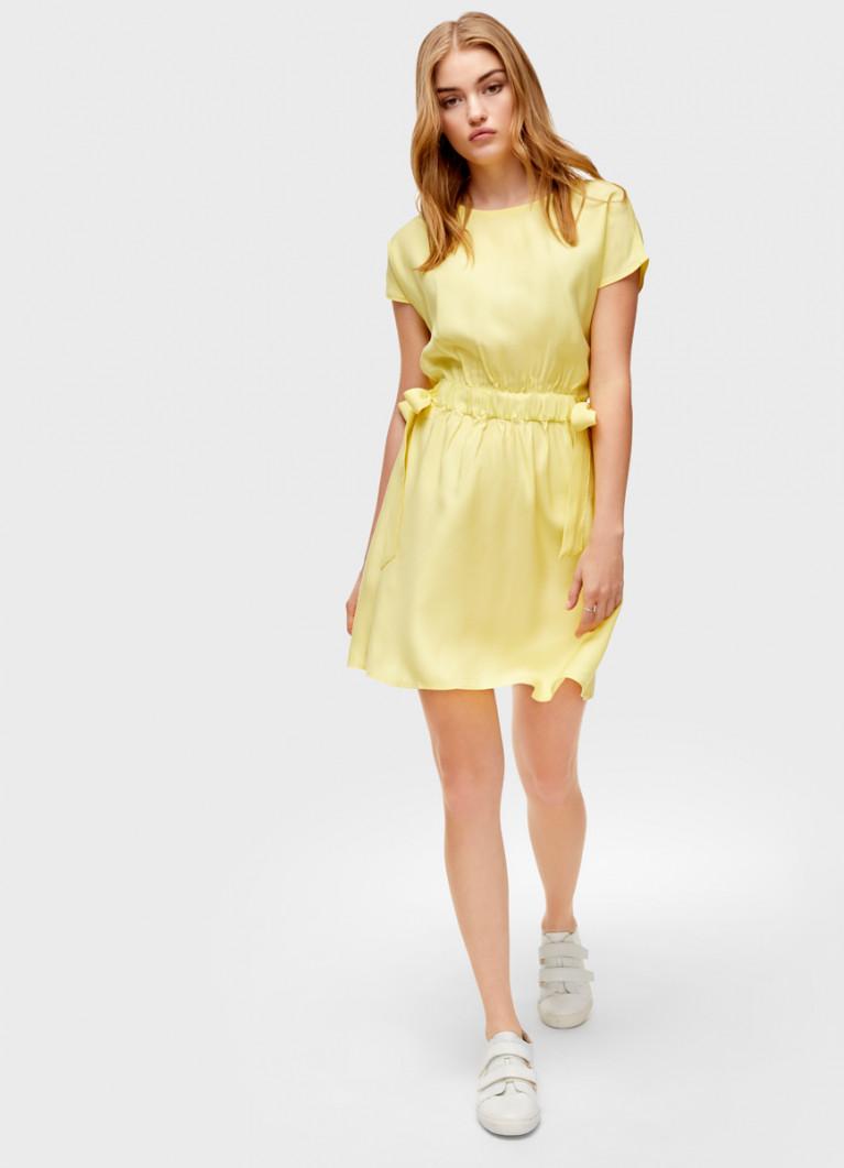 Платье с поясом на резинке