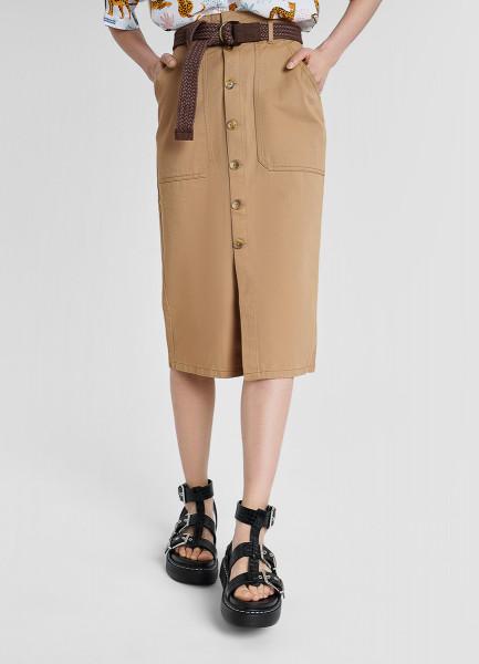 Хлопковая юбка с поясом