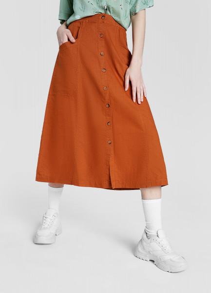 Льняная юбка миди с застёжкой