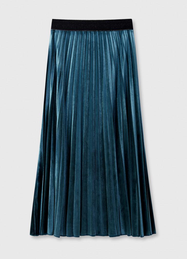 Бархатная плиссированная юбка
