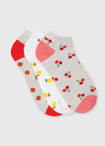 Комплект коротких носков с жаккардом «ягоды»
