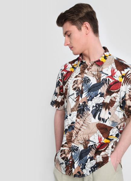 Рубашка из вискозы с тропическим принтом