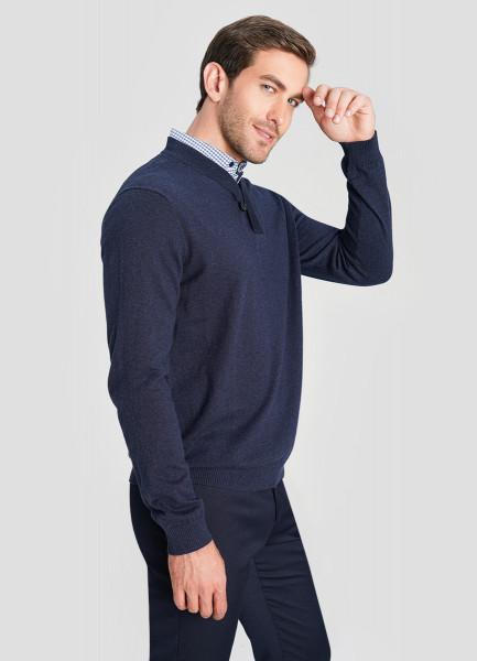 Джемпер Henly-neck с рубашечным воротником