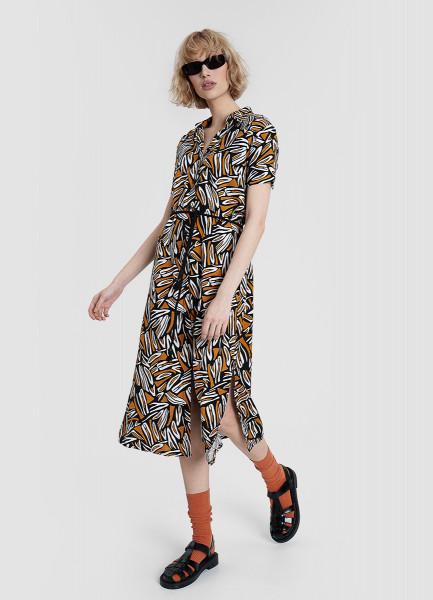 Платье-рубашка изо льна с вискозой