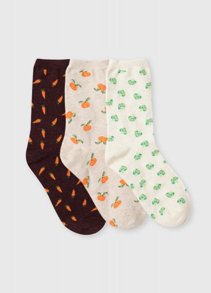 Носки с жаккардом «овощи»