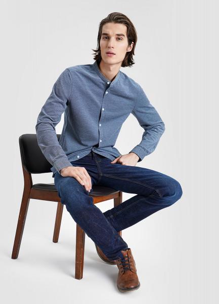 Рубашка из пике с замшевой отделкой