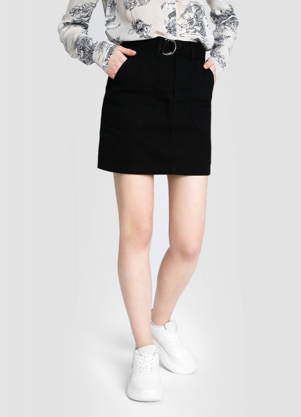 Хлопковая юбка с поясом фото
