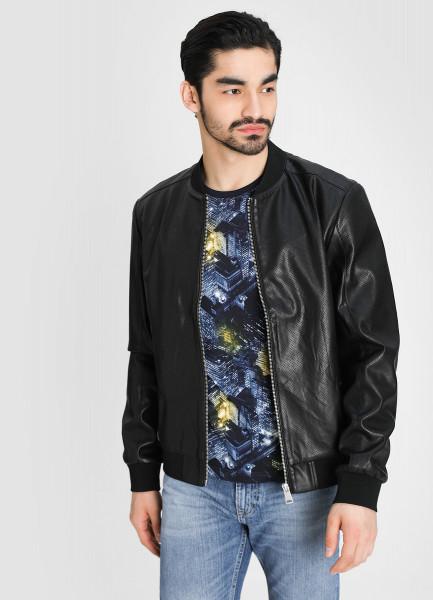 Куртка-бомбер из перфорированной искусственной кожи фото