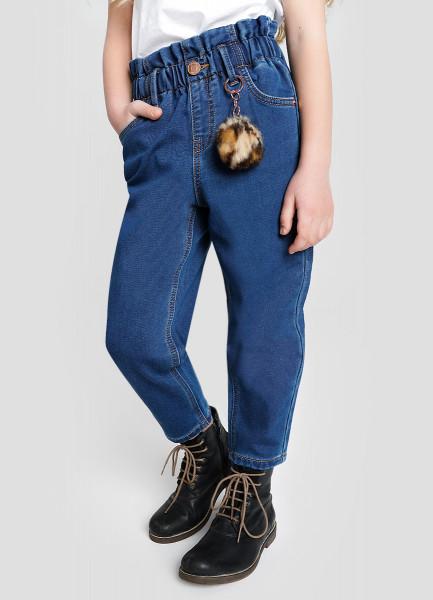 Свободные джинсы из брашированного денима для девочек