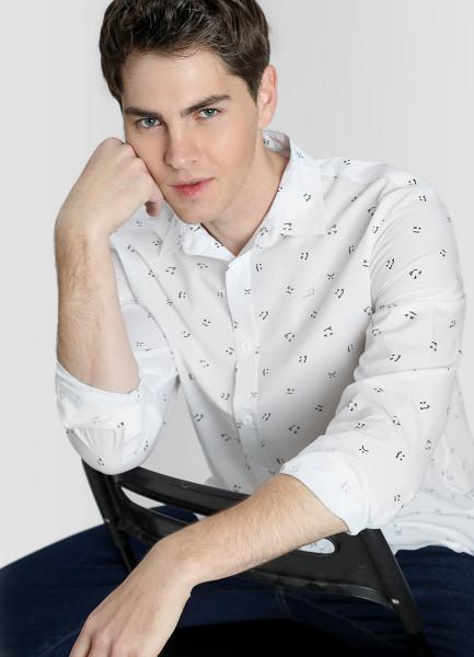 Рубашка из хлопка с принтом фото