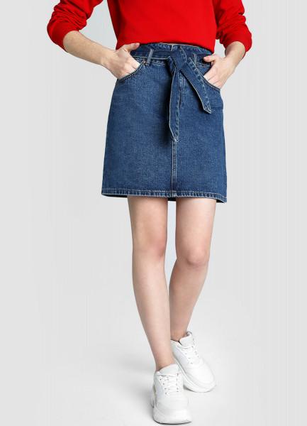 Денимная юбка Paperbag фото