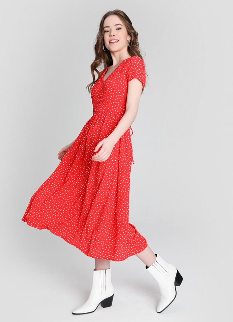 Платье миди в горох