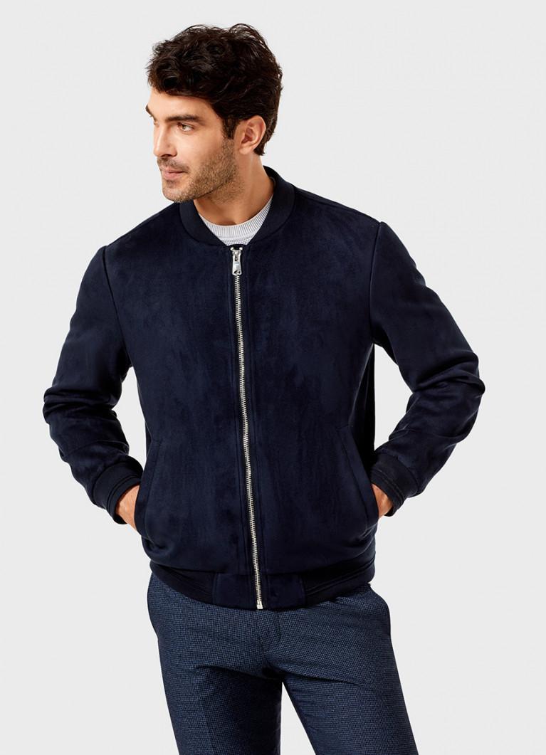 Куртка-бомбер из искусственной замши