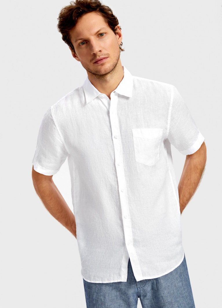 Рубашка из однотонного льна