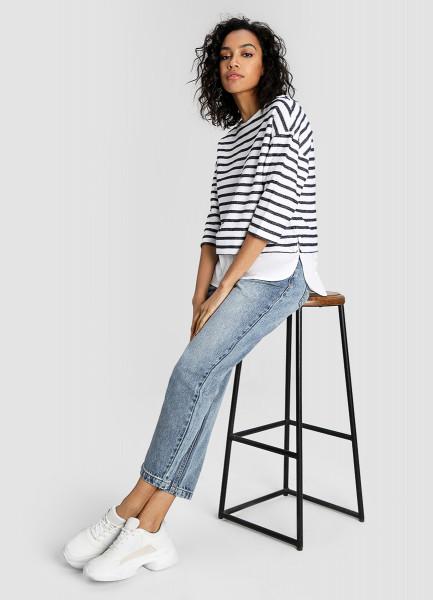 блузки и рубашки Полосатый джемпер с имитацией рубашки