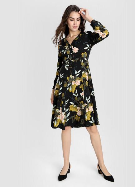Принтованное платье из крепа фото