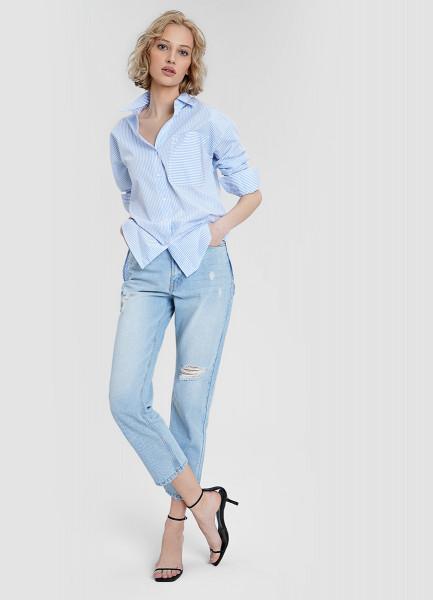 Рубашка из структурной ткани с накладным карманом