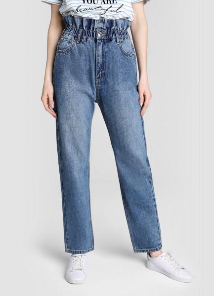 Прямые джинсы с высокой посадкой фото