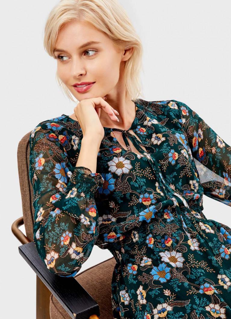 Шифоновое платье в цветочный принт