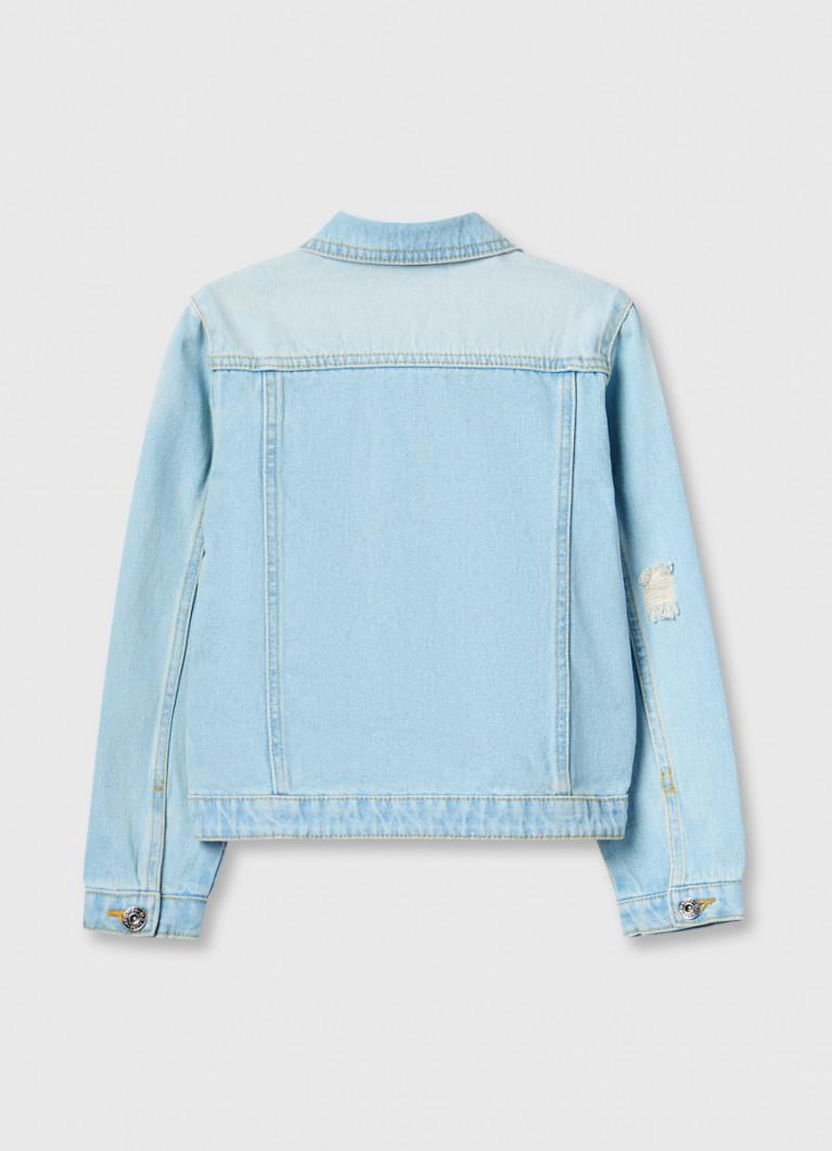 Джинсовая куртка с вышивкой пайетками