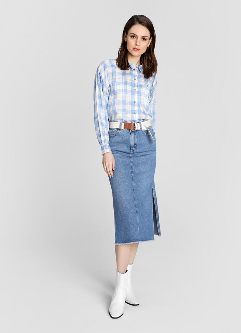 Джинсовая юбка миди с боковыми разрезами