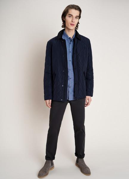 Стёганая куртка с отложным воротником из вельвета