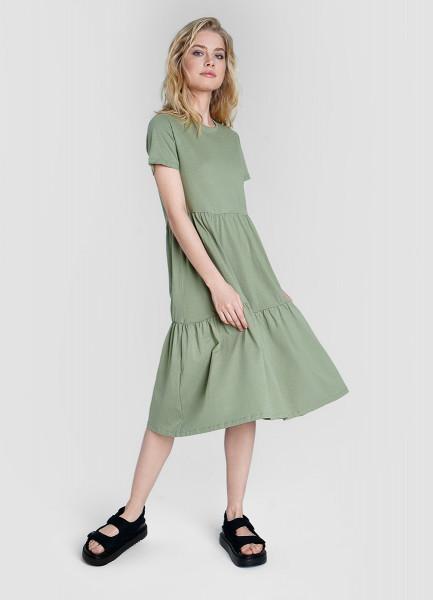 Трикотажное ярусное миди-платье