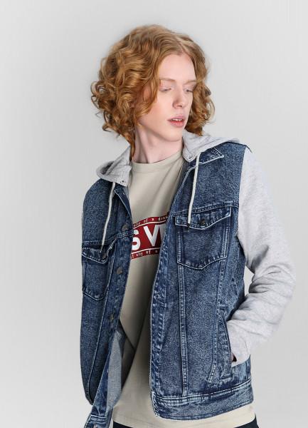 Джинсовая куртка с трикотажными рукавами фото