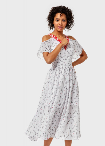 цена Шифоновое платье с открытыми плечами онлайн в 2017 году